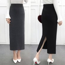 Женская облегающая элегантная юбка-карандаш миди с разрезом сзади на осень и зиму, повседневная трикотажная юбка с высокой талией, женские юбки s Jupe Femme Faldas