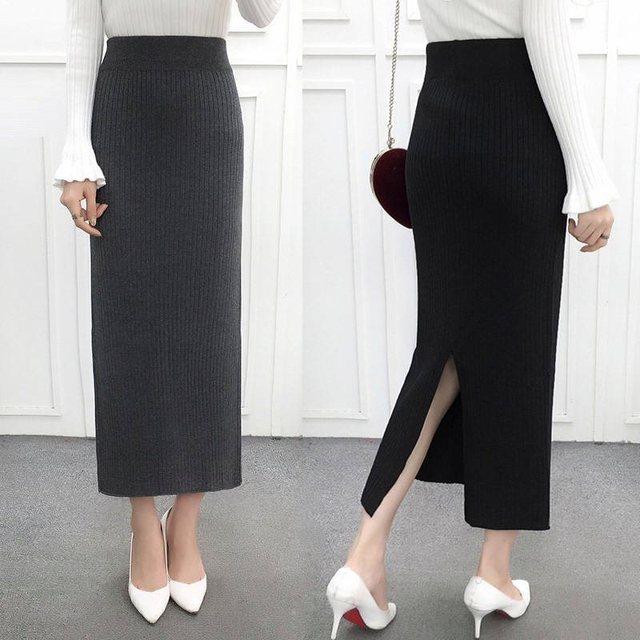 Kobiety z powrotem rozcięcie Bodycon elegancka spódnica ołówkowa Midi jesień zima z dzianiny w stylu Casual spódnica spódnice z wysokim stanem kobiet Jupe Femme Faldas