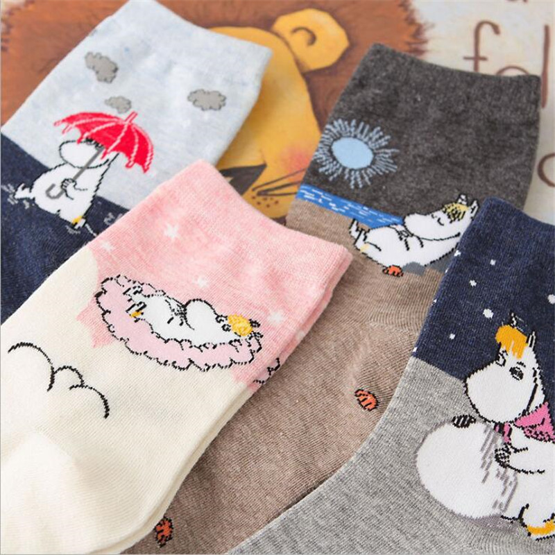 New Cartoon Animal Cute Socks Harajuku Funny Socks Short Cortas De Mujer Spring Summer Moomin Socks For Girl Warm Short Meias
