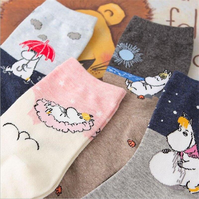New Cartoon Animal Cute   Socks   Harajuku Funny   Socks   Short Cortas De Mujer Spring Summer Moomin   Socks   For Girl Warm Short Meias