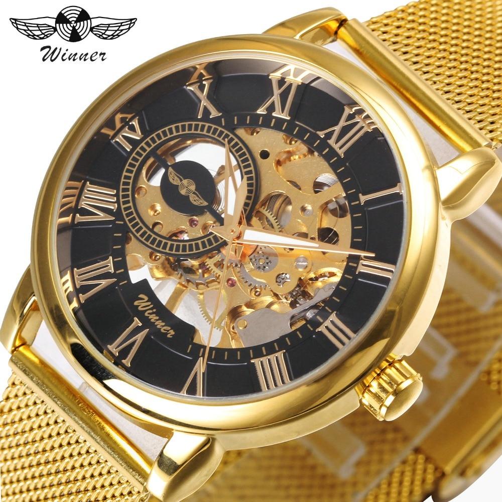 FORSINING Dress Fashion Men Mechanical Watch Mesh Strap Roman Number Skeleton Dial Top Brand Luxury Design Wrist Watches