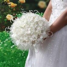 Роскошный свадебный букет невесты с цветами из шелка розы белый