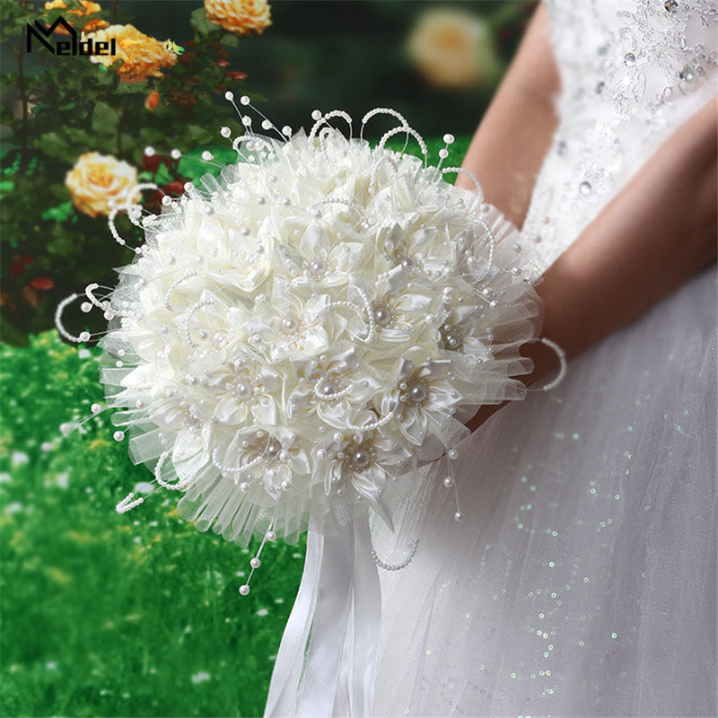 Meldel Bridal Wedding Bouquet Bridesmaid Holding Flower Silk Rose White Fake Pearl Bouquet For Bride Marriage Wedding Supplies
