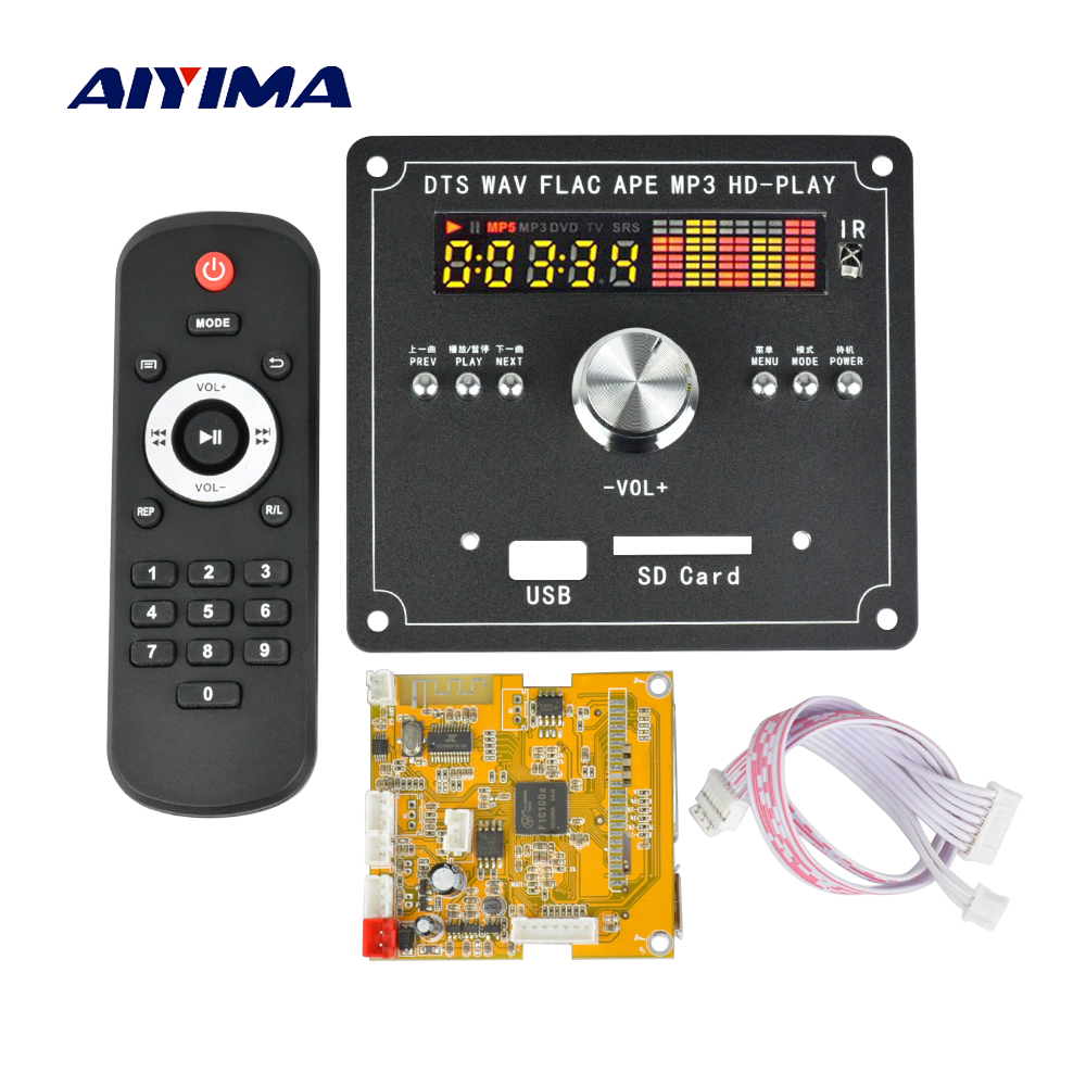 Aiyima 5V DTS Lossless Decoding Bluetooth Receiver Board MP4/MP5 MP3 Decoder Board HD Video Decoding APE/WAV/MP3 aiyima lcd lossless bluetooth decoder dts flac ape ac3 wav mp3 decoder board decode