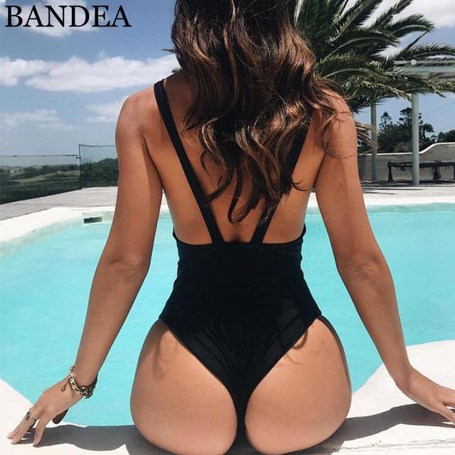 56dc9eaeb2c BANDEA Sexy One Piece Swimsuit Deep Plunging V Neck Bodysuit High Cut Swim  Bathing Suit Monokini