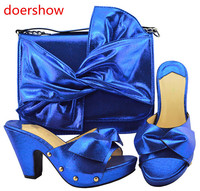 doershow Shoes and Bag Set African Sets 2018 Ladies Italian Shoes and Bag Set Decorated with Rhinestone Nigerian Shoes!Sbf1 51
