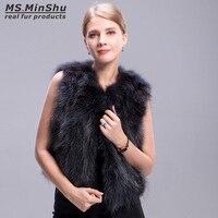 Ms. MinShu אפוד פרוות שועל דביבון הפרווה Vest חורף קצר אפור נשים ללא שרוולים אופנה מעיל פרווה דביבון אפוד פרווה אמיתית ילדה