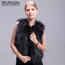 Ms.MinShu Raccoon Fur Vest Grey Short Winter Fox Fur Vest Sl