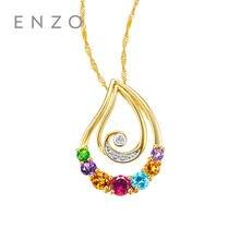 5d6f0966818 ENZO 14 Puro k Ouro Amarelo Citrino Granada Ametista Diamante Diopsídio  Topázio Azul Encantos Pingente de Colar Para As Mulheres.