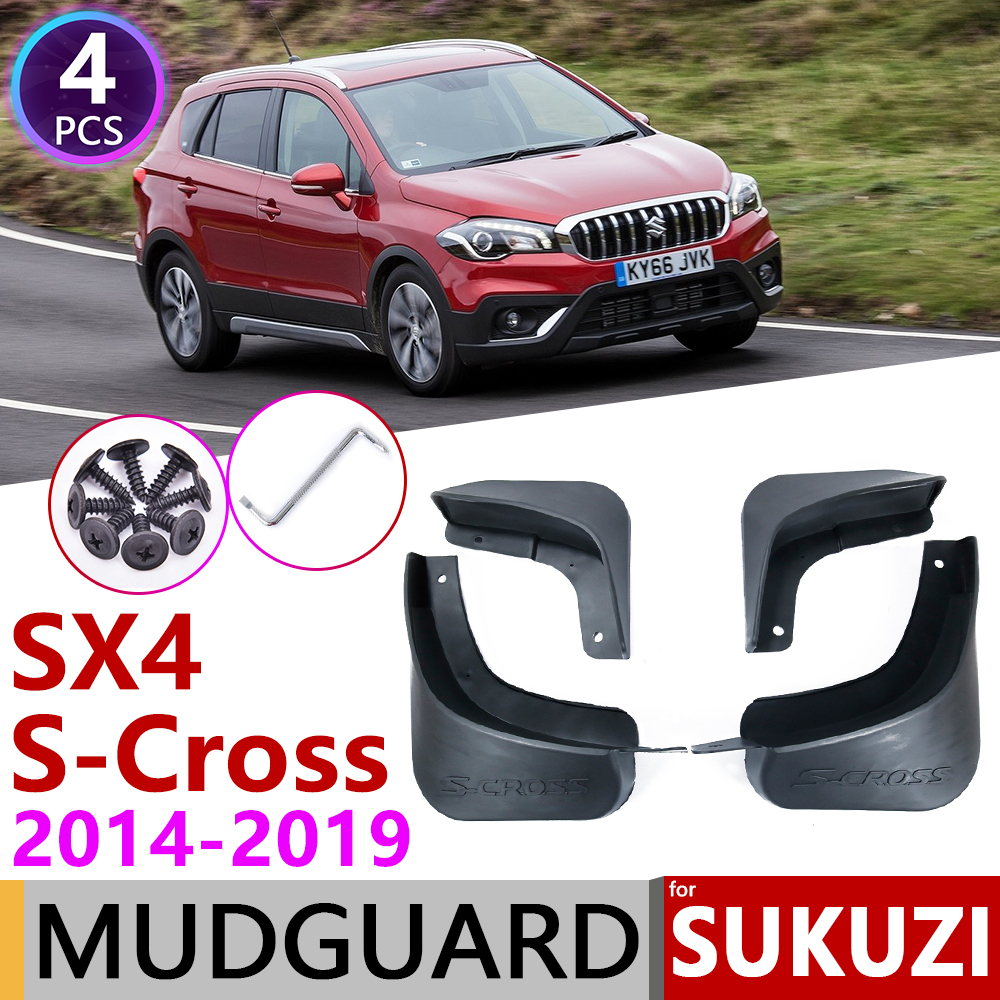 Front+Rear Mud Flaps For SX4 Suzuki S-Cross Crossover 2014-2017 Splash Guard