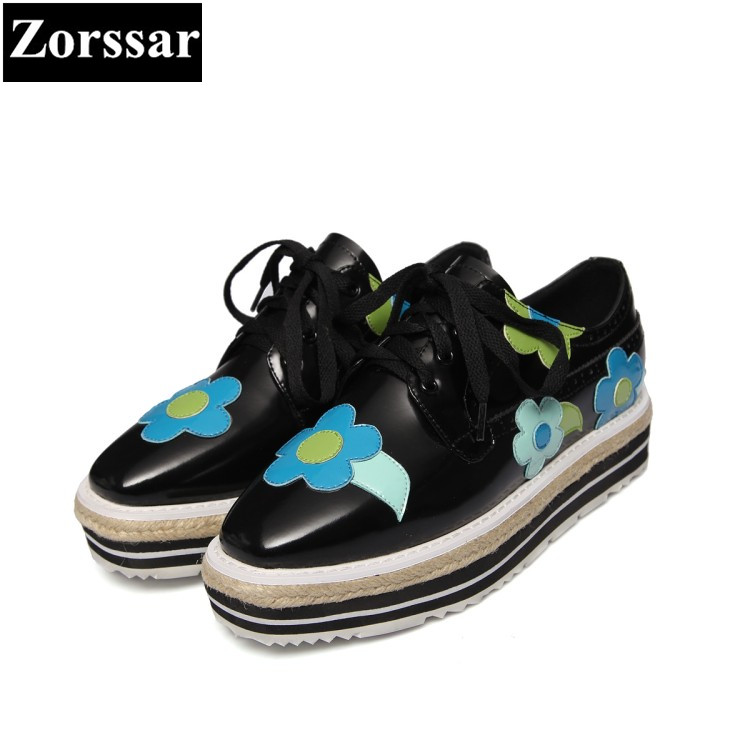 {Zorssar} brand design Real leather Fashion flowers wedges womens pumps platform high heels shoes lace up low heel ladies shoes nayiduyun fashion women cow leather lace up fashion high heels wedge sneakers platform party pumps low top casual punk greepers