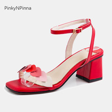 Sweet ladies red sandals princess heart shape gradient color two changeable ankle straps chunky heels women summer party shoes