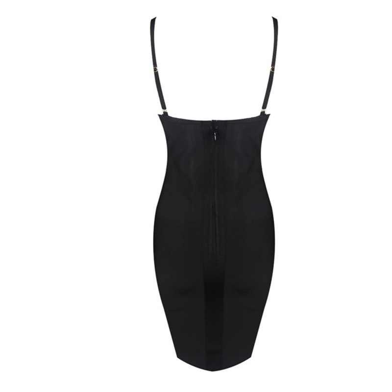 Новое поступление Летняя женский, черный сексуальный v-образный Вырез С НАБОРНЫМИ БРЕТЕЛЬКАМИ аппликации для женщин Бандажное платье Элегантный знаменитости вечерние клубная одежда, платья HL