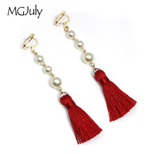 Fashion Tassel Clip Earrings No Hole Ear Clip Simulated-Pearl Earrings Without Piercing Women Long Tassel Earring Jewelry CE014(China)