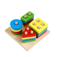 GEEK KING shape matching Building Blocks Kids Educational Montessori Geometric Assembly Matching Cognitive WoodenToys