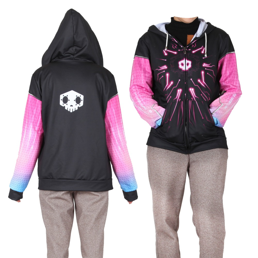 Women Girls Game OW New Hero SOMBRA Cosplay Hoodies Sweatshirt Costume Fashion OW DVA  Zip Up Hooded Sweatshirts