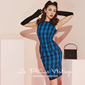 Le Palais Vintage 2016 Autumn Winter New Woolen Dress Elegant Classic Slim Blue Grid O Neck Sleeveless Wool Dresses Women