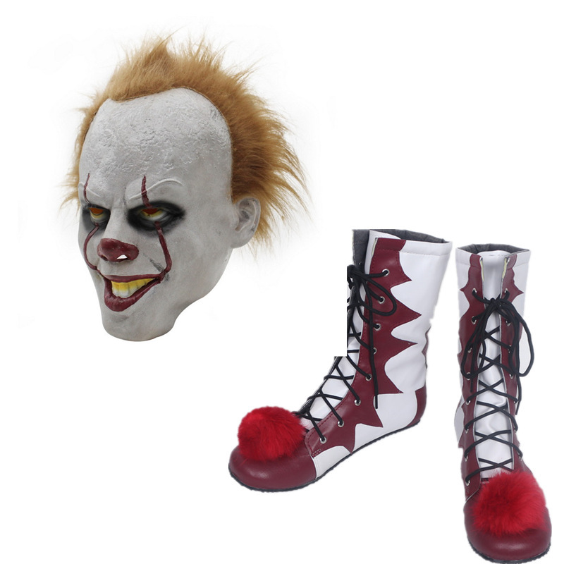 Hot Sale Stephen King's It Pennywise 2 Cosplay Shoes And Mask  Horrible Clown Boots Custom Halloween Christmas Accessories