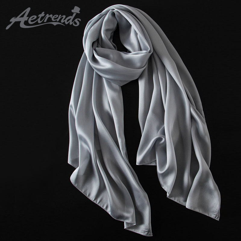 [AETRENDS] 2017 New Spring Autumn Women Scarves 13 Solid Colors Silk Scarf Z-3060