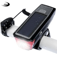 FTW Bicycle Light Bell Power Bank Solar Powered USB Rechargeable Bike Front Light Lamp Cycling Led