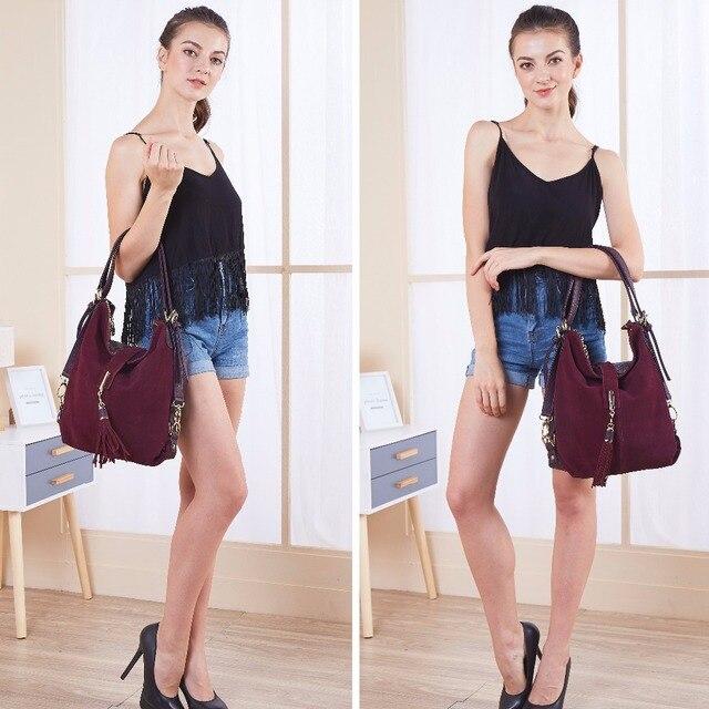 Women Real Split Suede Leather Shoulder Bag Female Leisure Nubuck Casual Handbag Hobo Messenger Top-handle bags 2