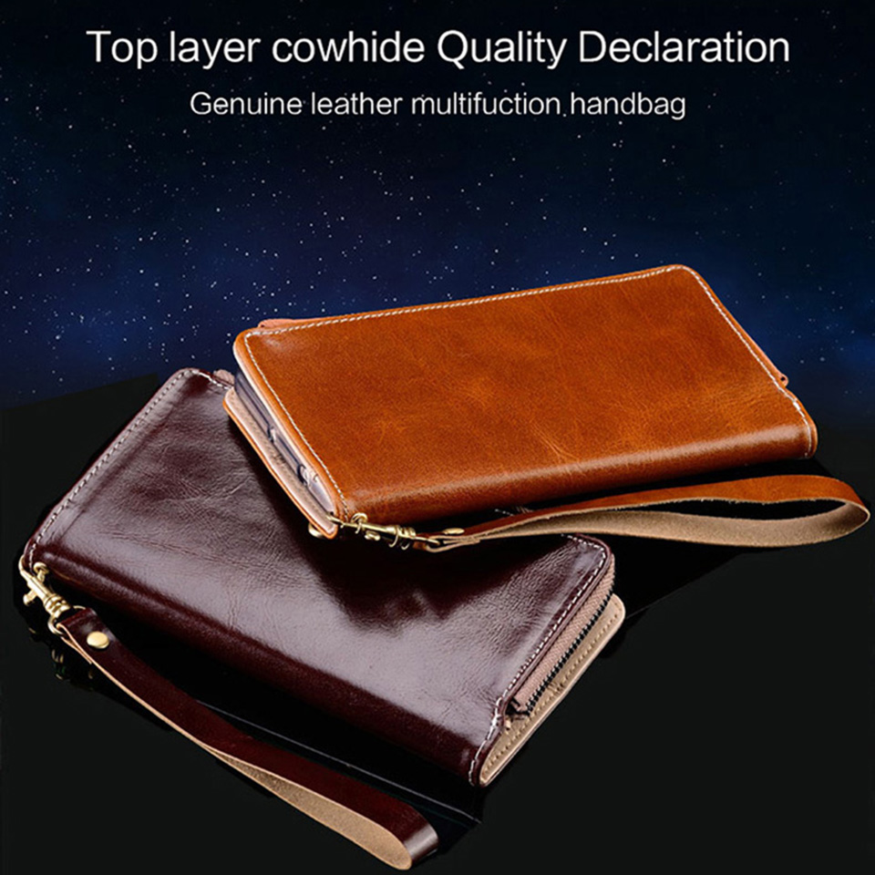 For Nokia 7plus anti-drop business wallet phone case handmade cowhide bag zipper flip for series