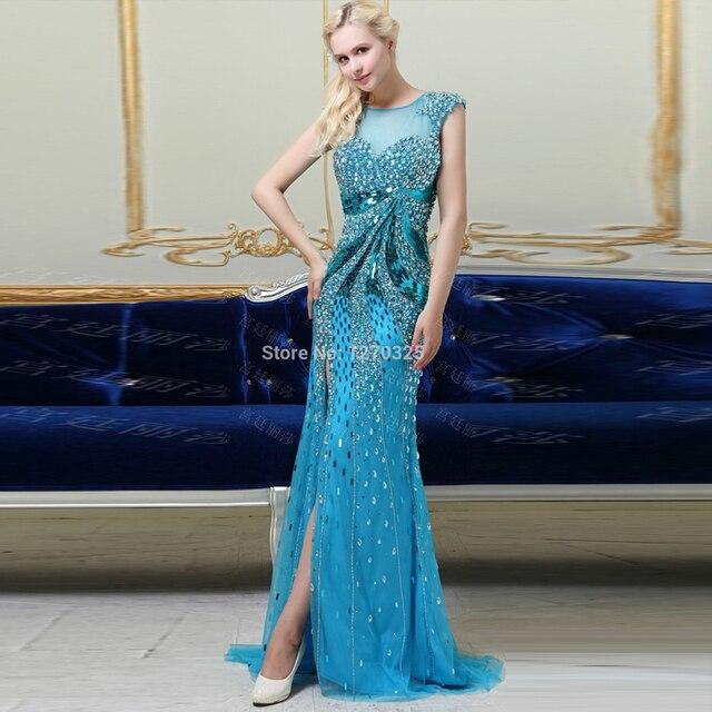 Vestido de festa longo para casamento 2018 new lace Boat Neck alta dividir  sereia sexy azul 29982378f6