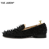 YUE Jabon Luxury Designer Shoes Mens Casual Flats Red Black Gold Silver Leather Wedding Shoes Rivet Studded Spiked Loafers Men