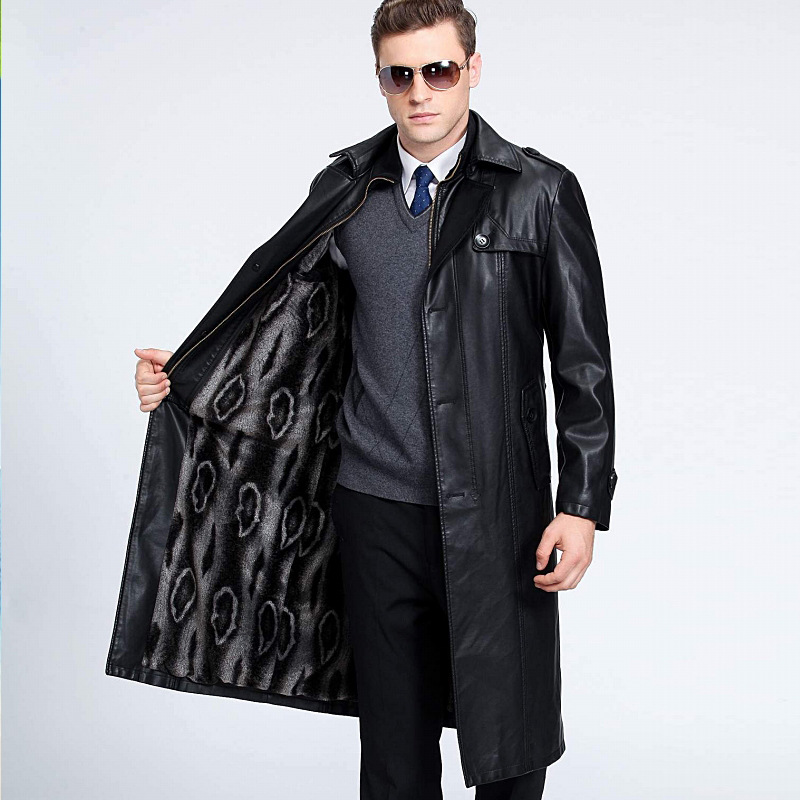 Men's Leather Trench Coat Double breasted X long Business Casual Plus Size Leather  Jacket M 5XL 115KG Can Wear|Faux Leather Coats| - AliExpress
