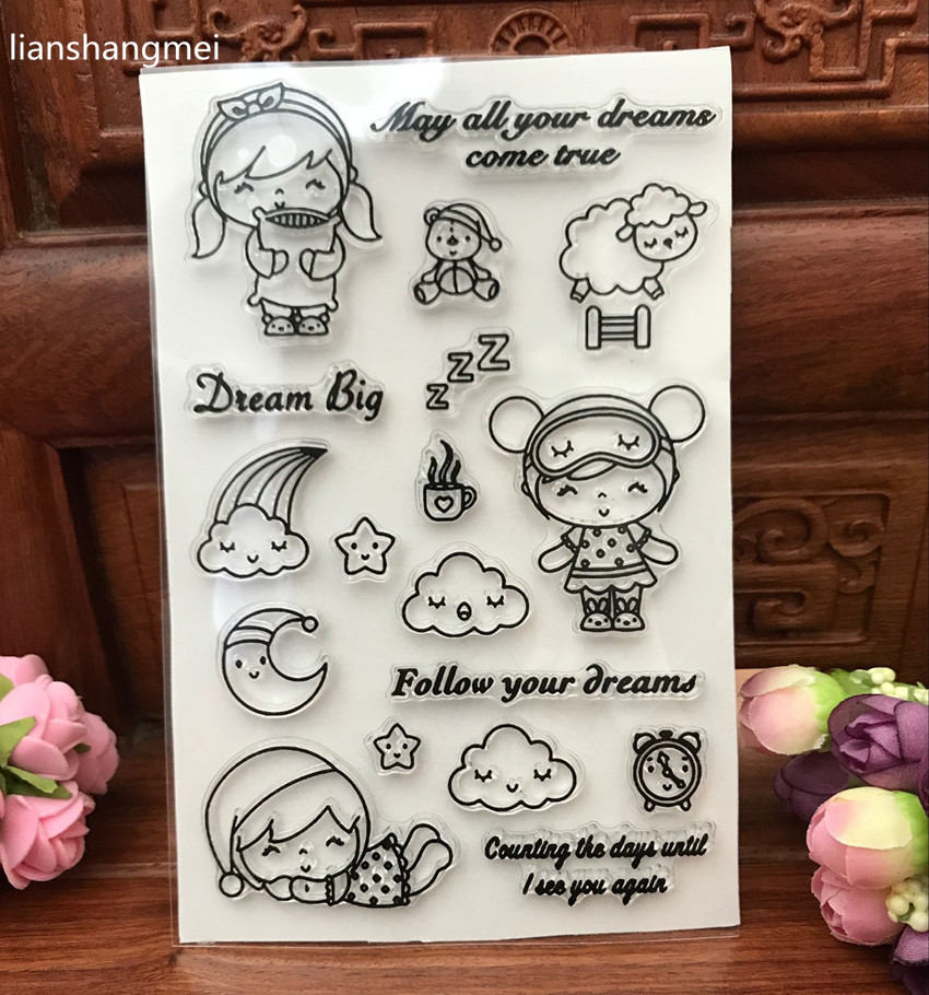 Good night!Transparent Clear Silicone Stamp/Seal for DIY scrapbooking/photo album Decorative clear stamp sheets chicken animals transparent clear silicone stamp seal for diy scrapbooking photo album decorative clear stamp sheets a547