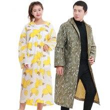 ФОТО new adult fashion leaf pattern raincoat eva eco-friendly light tourism rainwear outdoor windbreaker long hiking poncho