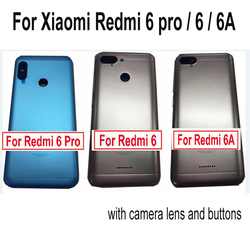 Back <font><b>Battery</b></font> Cover For Xiaomi <font><b>Redmi</b></font> <font><b>6</b></font> pro / redmi6 / <font><b>redmi</b></font> 6A Door Rear Housing <font><b>Case</b></font> Repair Spare buttons + Power Volume Button image