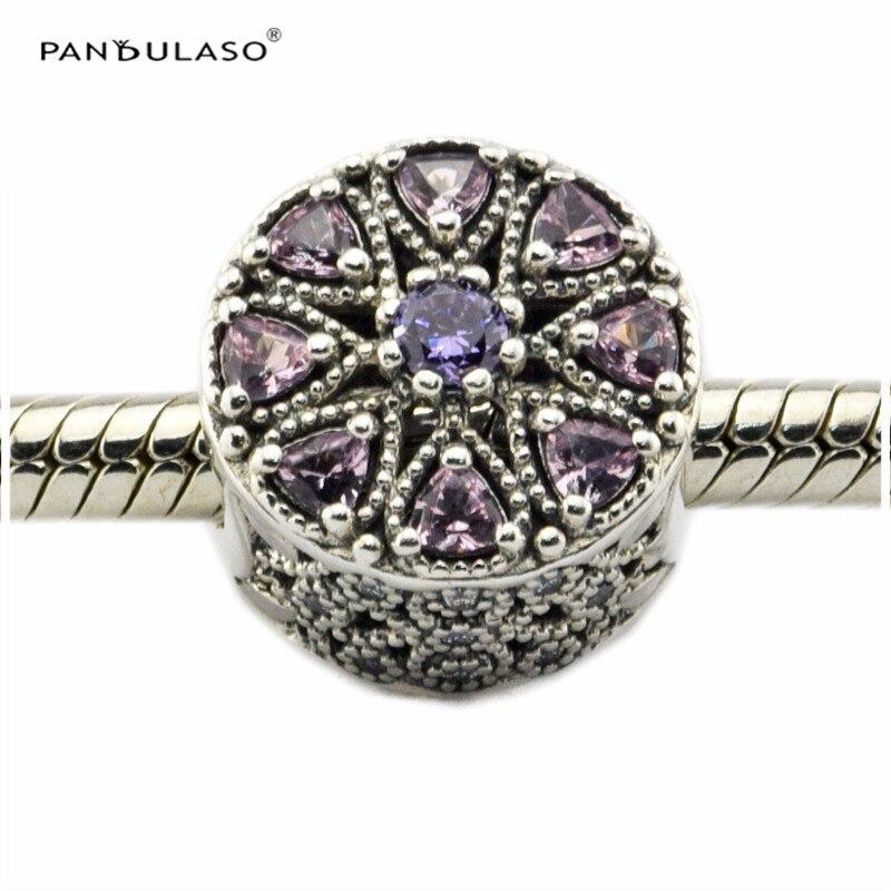 Pandulaso Shimmering Perles Médaillon Fit Charmes Originaux 925 Argent Bracelets pour femme bijoux DIY la fabrication de Bijoux