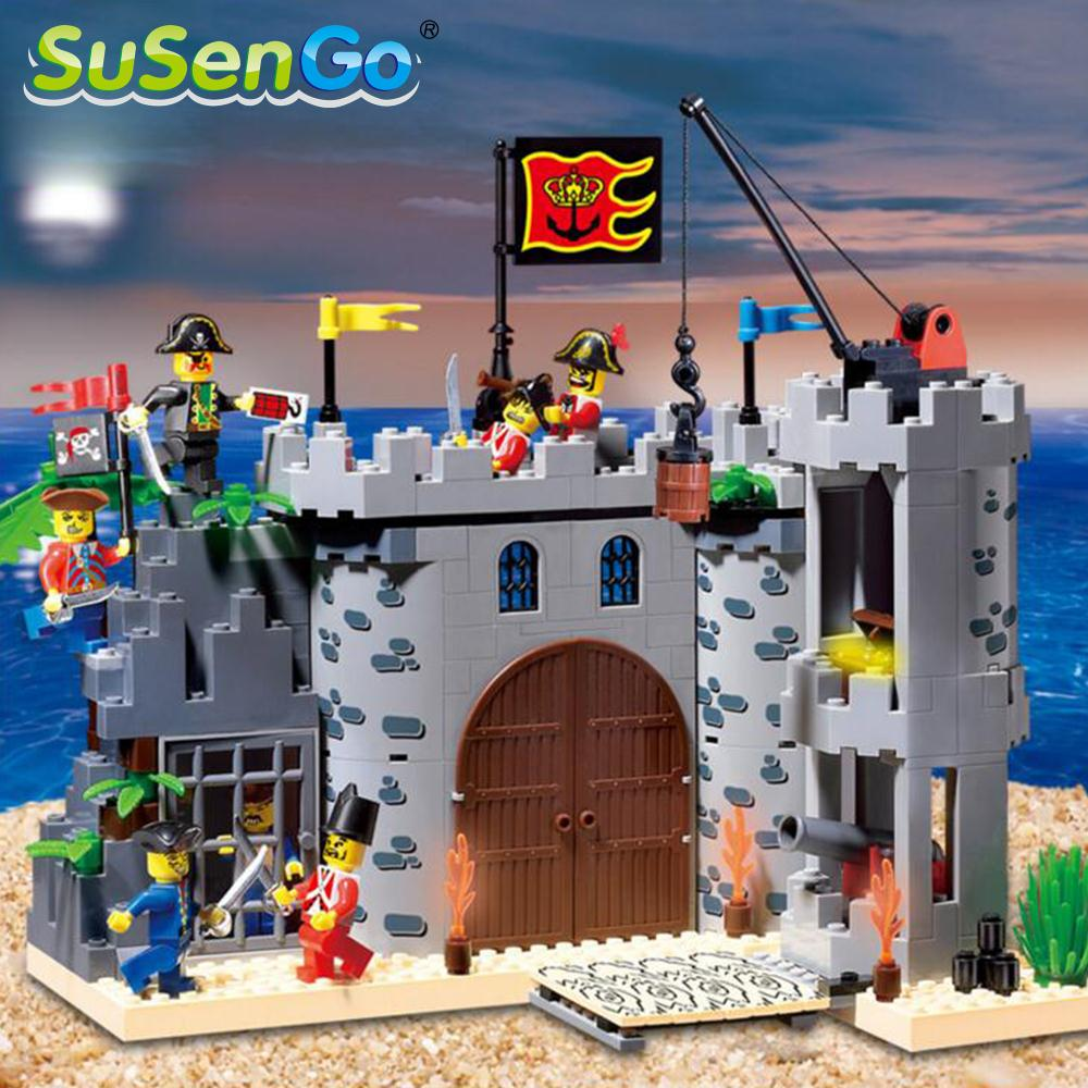 SuSenGo Kids Toys Robbing Barracks Pirates Castle Building Blocks Model Gift Toy Compatible with Lepin 366pcs set pirate castle pirates robbery barracks model building blocks savage pirate figures bricks diy toys for boys gift