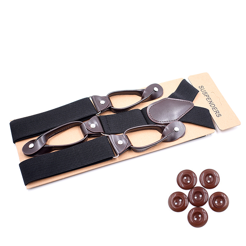 Suspenders for Men Leather Trimmed Button End Elastic Tuxedo Y Back Mens Fashion Suspenders Pant Braces Black Burgundy Khaki(China)