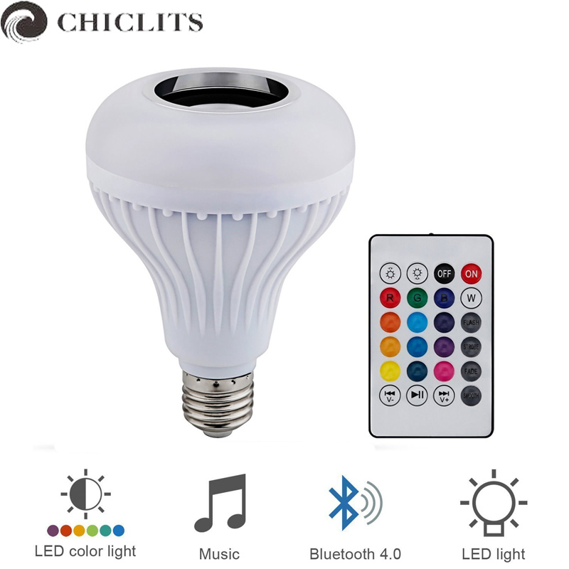 Chiclits Led Lamp Bluetooth RGBW Bulb 110V 220V Music Speaker Playing Dimmable 12W E27 LED Lamp Light with 24 Key Remote Control
