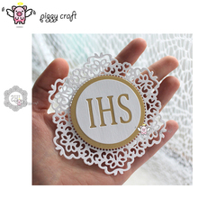 Piggy Craft metal cutting dies cut die mold IHS letter lace frame Scrapbook paper craft knife mould blade punch stencils dies