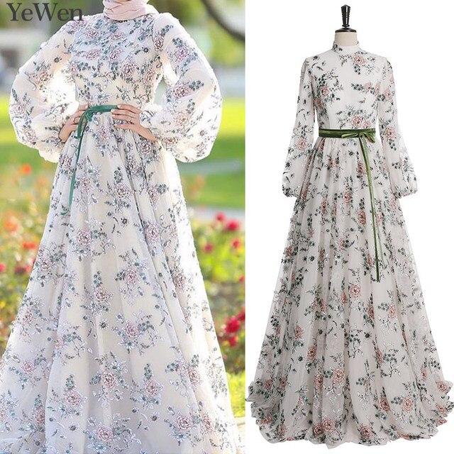 422cfe108c Saudi Arabia Long Sleeves A Line Evening Dresses 2019 Dubai Kaftan Muslim  Flower women elegant Prom Party Gowns YeWen 326