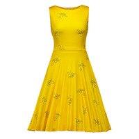 Sisjuly Women Summer Yellow Dress Female A Line Zipper Round Neck Dresses Sleeveless Knee Length Female