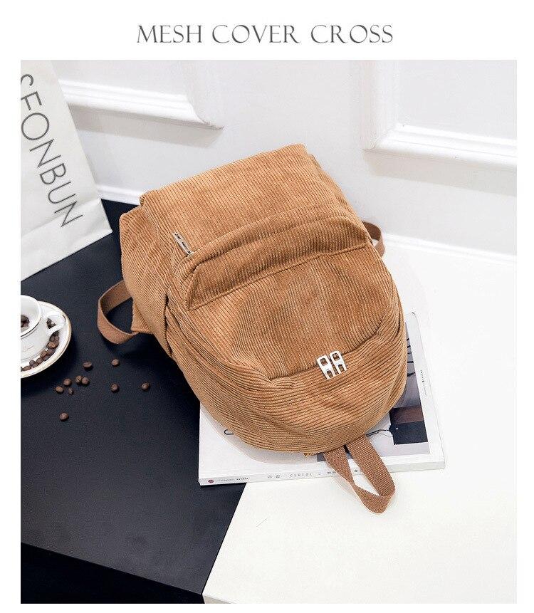 HTB1smfcd2WG3KVjSZPcq6zkbXXak 2019 New Corduroy Women Backpack Pure Color Women Travel Bag Fashion Double Backpack Female Mochila Bagpack Pack Design