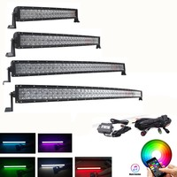 Car Curved 5D RGB 22 32 42 50 52 Inch LED Work Light Bar 16 Million Colors Strobe Flashing Bluetooth Offroad Truck 12V 24V