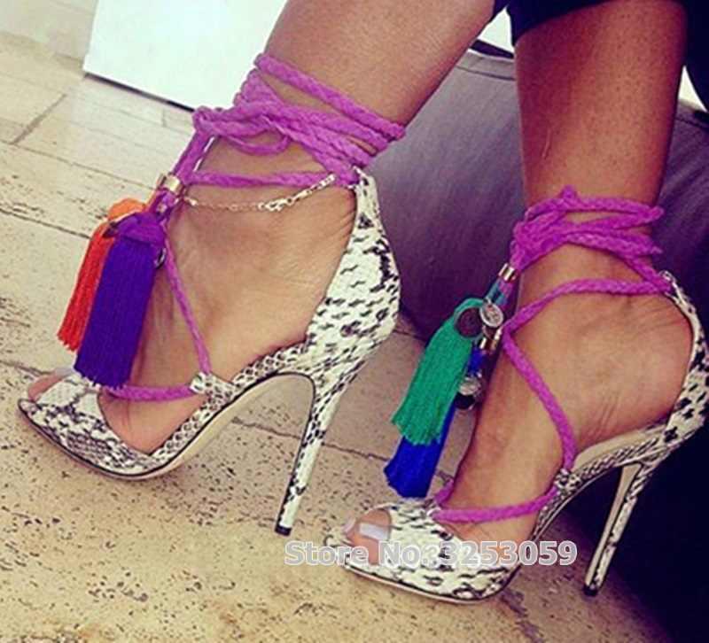 ALMUDENA Women Sexy Grey Snakeskin Fringe Sandals Rope Cross Lace-up Tassel  Shoes Coin Embellished c46ba5ea85f2