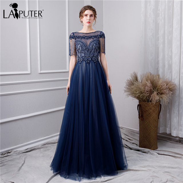 8b08da54c5 US $189.0 |LAIPUTER 2019 High Quality Evening Dresses with Luxury Beading  Crystal A line Dark Navy Prom Dresses Cap Sleeves -in Evening Dresses from  ...