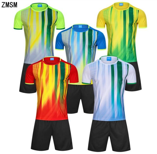 ZMSM 2018 Mens Soccer Jerseys Set Training suit custom Football Uniforms  Stripe Football Shirt Running Fitness Sportswear B3352 38015d2ab