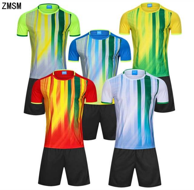 ZMSM 2018 Mens Soccer Jerseys Set Training suit custom Football Uniforms  Stripe Football Shirt Running Fitness f67895385