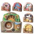 5 Placa pçs/set animais do jardim zoológico do bebê arco copo Garfos Colher Dinnerware Conjunto de alimentação, 100% de fibra de bambu Do Bebê crianças mesa conjunto