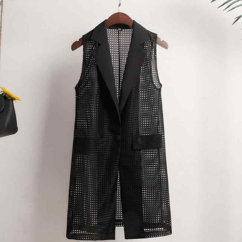 Costume d'été manteau creux Blazer femmes décontracté femmes longues vestes élégant sans manches Blazer extérieur