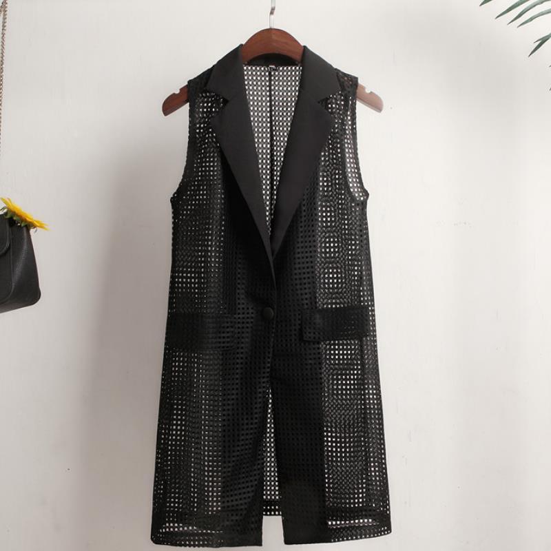 Summer Suit Hollow Coat Blazer Women Casual Women Long Jackets Elegant Sleeveless Blazer Outerwear