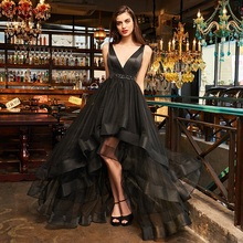 Tanpell v neck cocktail dresses sexy black sleeveless tea length a line dress women prom party customed beading