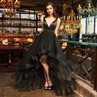 Tanpell v neck cocktail dresses sexy black sleeveless tea length a line dress women prom party customed beading cocktail dress